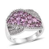 Madagascar Pink Sapphire, White Zircon Platinum Over Sterling Silver Ring (Size 8.0) TGW 3.600 cts.