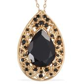 Thai Black Spinel 14K YG Over Sterling Silver Pendant With Chain (20 in) TGW 14.840 cts.