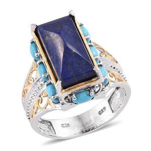 Lapis Lazuli, Arizona Sleeping Beauty Turquoise 14K YG and Platinum Over Sterling Silver Ring (Size 8.0) 0 TGW 8.800 cts.