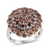 Jenipapo Andalusite, Thai Black Spinel 14K YG and Platinum Over Sterling Silver Ring (Size 6.0) TGW 4.360 cts.
