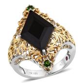 Royal Jaipur Thai Black Spinel, Russian Diopside, Ruby 14K YG and Platinum Over Sterling Silver Ring (Size 7.0) 0 TGW 7.67 cts.