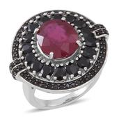 Niassa Ruby, Thai Black Spinel Sterling Silver Ring (Size 7.0) TGW 10.060 cts.