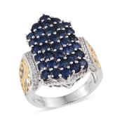 Kanchanaburi Blue Sapphire, White Zircon 14K YG and Platinum Over Sterling Silver Elongated Cluster Ring (Size 7.0) TGW 5.550 cts.