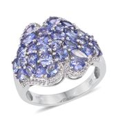 Tanzanite, White Topaz Platinum Over Sterling Silver Ring (Size 8.0) TGW 4.50 cts.