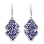 Tanzanite, White Topaz Platinum Over Sterling Silver Lever Back Earrings TGW 7.76 cts.