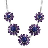 Lapis Lazuli, Amethyst Platinum Over Sterling Silver Floral Princess Necklace (18 in) TGW 19.55 Cts.