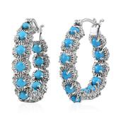 Arizona Sleeping Beauty Turquoise, White Topaz Platinum Over Sterling Silver Inside Out Hoop Earrings TGW 5.280 cts.