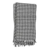 Black and White Houndstooth Print 80% Cotton, and 20% Polyester Fringe Throw (50x60 in)