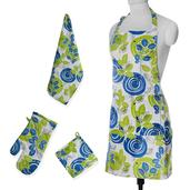 Leaf and Spiral 100% Cotton Kitchen Set (1 Apron, 1 Kitchen Towels, 1 Oven Mit, 1 Pot Holder)