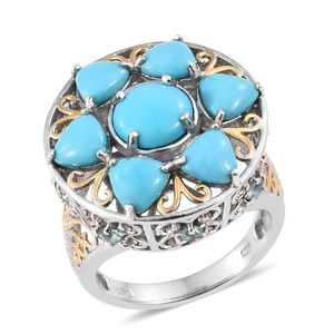 Arizona Sleeping Beauty Turquoise, White Topaz, Madagascar Paraiba Apatite 14K YG and Platinum Over Sterling Silver Statement Ring (Size 7.0) TGW 6.300 cts.