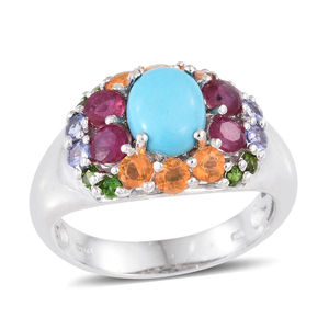 Arizona Sleeping Beauty Turquoise, Multi Gemstone Platinum Over Sterling Silver Ring (Size 8.0) TGW 3.640 cts.