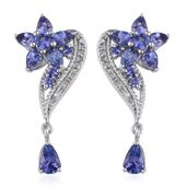 Tanzanite, White Topaz Platinum Over Sterling Silver Floral Drop Earrings TGW 3.68 cts.