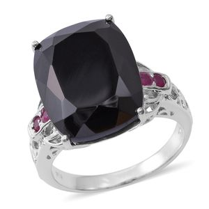 Thai Black Spinel, Ruby Platinum Over Sterling Silver Openwork Cocktail Ring (Size 7.0) TGW 26.98 cts.
