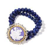 Lapis Lazuli, Cameo, Austrian Crystal Goldtone Bracelet (Stretchable) TGW 247.650 cts.