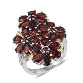 Mozambique Garnet, White Topaz 14K YG and Platinum Over Sterling Silver Floral Ring (Size 6.0) TGW 12.360 cts.