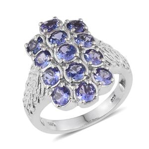 Tanzanite Platinum Over Sterling Silver Ring (Size 7.0) TGW 3.500 cts.