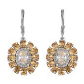 Strontium Titanate, Brazilian Citrine, White Zircon Platinum Over Sterling Silver Lever Back Earrings TGW 6.72 cts.