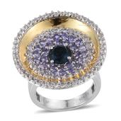 London Blue Topaz, Tanzanite, White Topaz 14K YG and Platinum Over Sterling Silver Ring (Size 9.0) TGW 4.25 cts.