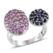Kanchanaburi Blue and Pink Sapphire Platinum Over Sterling Silver Open Ring (Size 8.0) TGW 2.93 cts.