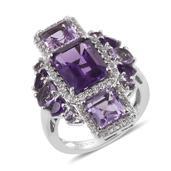 Jewel Studio by Prachi Amethyst, Rose De France Amethyst, White Topaz Platinum Over Sterling Silver Ring (Size 7.0) TGW 6.940 cts.