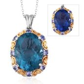 Color Change Fluorite, Tanzanite 14K YG and Platinum Over Sterling Silver Pendant With Chain (20 in) TGW 19.21 cts.