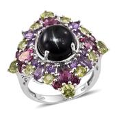 Indian Black Star Diopside, Multi Gemstone Platinum Over Sterling Silver Ring (Size 6.0) TGW 14.340 cts.