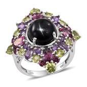 Indian Black Star Diopside, Multi Gemstone Platinum Over Sterling Silver Ring (Size 8.0) TGW 14.340 cts.