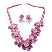 Pink Shell, Simulated Pearl Stainless Steel Earrings and Floral Necklace (22 in)