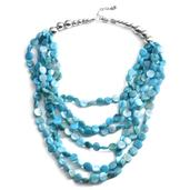 Blue Shell Silvertone Multi Strand Drape Necklace (18-20 in)