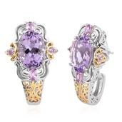 Rose De France Amethyst, Madagascar Pink Sapphire 14K YG and Platinum Over Sterling Silver J-Hoop Earrings TGW 11.60 Cts.