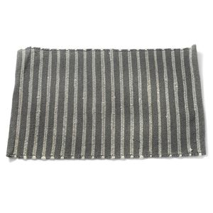 Gray and White Cotton Rich Striped Rug (28x19 in)