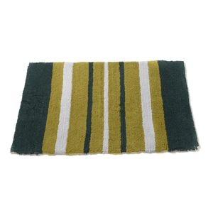 Green Stripes Cotton Bath Rug (30x20 in)