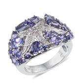 Tanzanite, White Topaz Platinum Over Sterling Silver Ring (Size 7.0) TGW 5.61 cts.