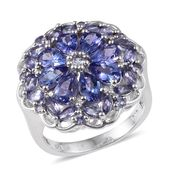 Tanzanite Platinum Over Sterling Silver Statement Ring (Size 7.0) TGW 5.31 cts.