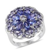 Tanzanite Platinum Over Sterling Silver Statement Ring (Size 9.0) TGW 5.31 cts.