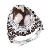 Peanut Wood Jasper, Multi Gemstone Platinum Over Sterling Silver Ring (Size 7.0) TGW 16.700 cts.