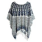 Navy Blue and Black Flower Print 100% Rayon Poncho Dress With Sequin
