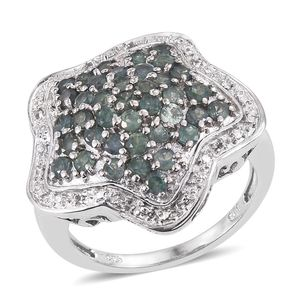Narsipatnam Alexandrite, White Topaz Platinum Over Sterling Silver Star Ring (Size 6.0) TGW 2.10 cts.