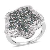 Narsipatnam Alexandrite, White Topaz Platinum Over Sterling Silver Star Ring (Size 8.0) TGW 2.100 cts.