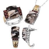 Peanut Wood Jasper, Mozambique Garnet Platinum Over Sterling Silver Ring (Size 9), J-Hoop Earrings and Pendant With Chain (20 in) TGW 36.950 cts.
