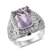 Rose De France Amethyst, Multi Gemstone Platinum Over Sterling Silver Ring (Size 6.0) TGW 12.830 cts.