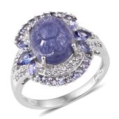 Tanzanite, White Topaz Platinum Over Sterling Silver Carved Split Ring (Size 8.0) TGW 6.76 cts.
