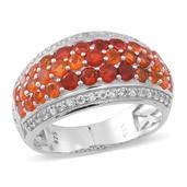 Jalisco Fire Opal, White Topaz Sterling Silver Openwork Cluster Ring (Size 8.0) TGW 2.840 cts.