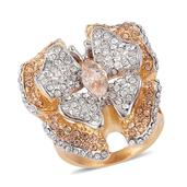 Simulated Champagne Diamond, Austrian Crystal ION Plated YG Stainless Steel Butterfly Statement Ring (Size 8.0) TGW 5.000 cts.