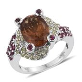 Alexite, Hebei Peridot, Orissa Rhodolite Garnet Platinum Over Sterling Silver Ring (Size 8.0) TGW 7.140 cts.