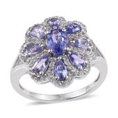 Tanzanite, White Topaz Platinum Over Sterling Silver Floral Split Ring (Size 8.0) TGW 3.890 cts.