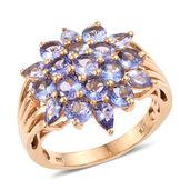 Tanzanite 14K YG Over Sterling Silver Ring (Size 7) TGW 4.710 cts.