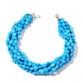 Blue Howlite Stainless Steel Multi Strand Necklace (18-20 in) TGW 875.000 cts.