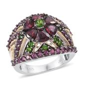Orissa Rhodolite Garnet, Russian Diopside 14K YG and Platinum Over Sterling Silver Ring (Size 7.0) TGW 5.93 cts.
