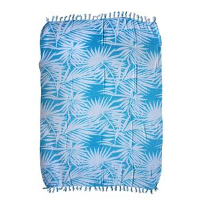 Sky Blue Leaf Print 100% Rayon Sarong (71x47 in)